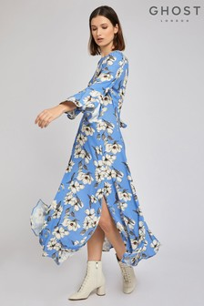 Ghost London Blue Luisa Tree Blossom Printed Crepe Dress