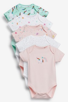 5 Pack Unicorn Star Short Sleeve Bodysuit (0mths-3yrs)