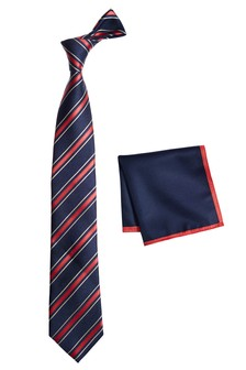 Stripe Tie And Pocket Square Set