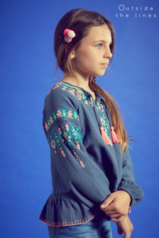 Outside The Line Blue Embroidered Smock Top
