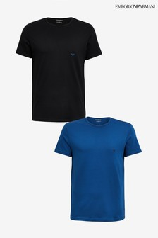 Emporio Armani Black/Blue Lounge T-Shirt Two Pack