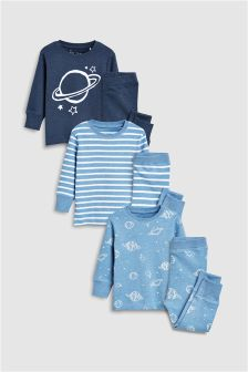 Stripe/Planet Snuggle Fit Pyjamas Three Pack (9mths-8yrs)
