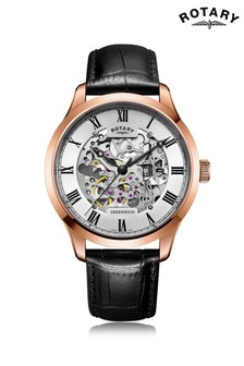 Rotary Gents Rose Gold Plated Strap Watch