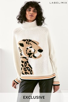 Mix/Holly Fulton Chunky Leopard Knit Jumper