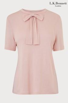 L.K.Bennett Pink Bow Jersey Top