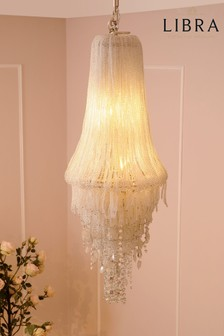 Libra Limegrove White Glass Nickel Chandelier