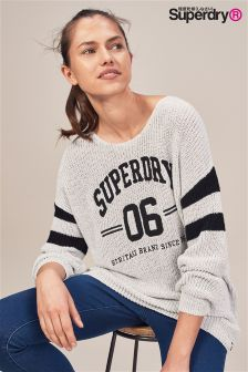 Superdry Off White Heritage Sleeve Stripe Knit