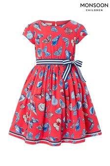 27b65524394 Monsoon Red Seashell Butterfly Dress