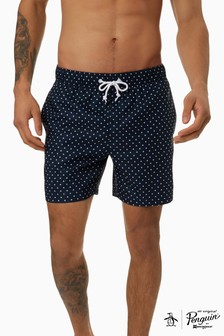 Original Penguin® Blue Star Print Elastic Swim Trunks