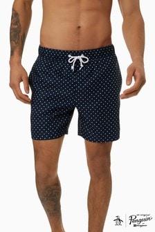 מכנסוני שחיה אלסטיים עם הדפס כוכבים של Original Penguin® בצבע כחול