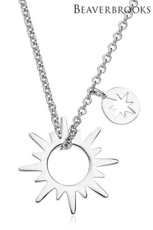 Beaverbrooks Sterling Silver Sun Necklace
