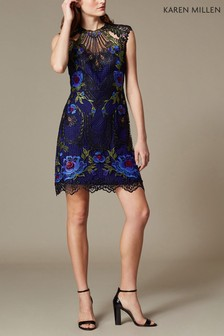Karen Millen Purple Metallic Coated Floral Embroidery Dress