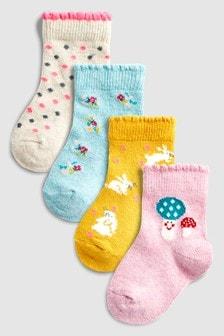 印花襪四雙裝 (小)