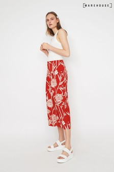 Warehouse Red Floral Print Culotte
