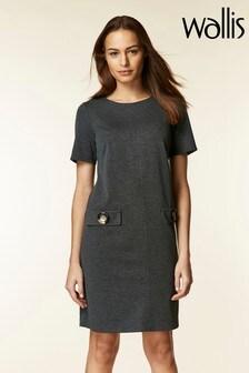 Wallis Grey Button Pocket Shift Dress