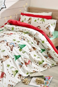 Brushed Cotton Family Bears Duvet Cover and Pillowcase Set