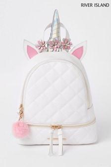 River Island White Unicorn Novelty Backpack