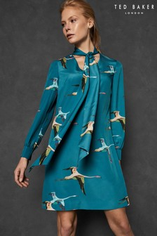 Ted Baker Teal Bird Print Dress
