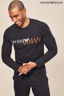 Emporio Armani Black Mega Logo Long Sleeve Top