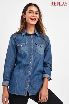 Replay® Mid Wash Denim Western Shirt