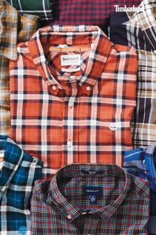 Timberland® Orange Slim Fit Herringbone Check Shirt
