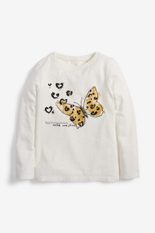 Long Sleeve Sequin Butterfly Top (3-16yrs)