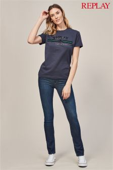 Replay® Touch Straight Low Waist Dark Wash Jean