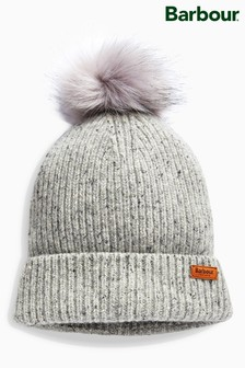 Barbour® Grey Weymouth Pom Beanie