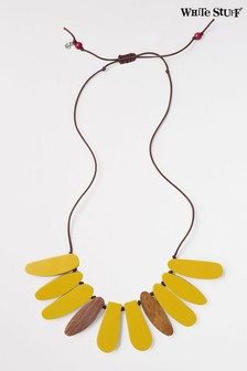 White Stuff Yellow Reversible Wood Resin Necklace