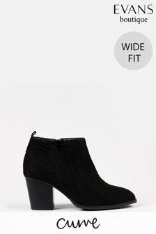 Evans Curve Wide Fit Black Heeled Ankle Boots