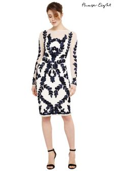 Phase Eight Ivory/Navy Amelie Tapework Dress