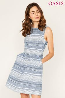 Oasis Blue Varigated Stripe Skater Dress