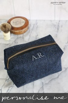 Personalised Tweed Wash Bag by Jonny's Sister