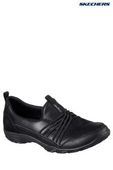 Skechers® Black Micro Leather Scooped Slip-On With Memory Foam