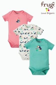 Frugi Organic Puffin 3 Pack Bodysuits Eczema Friendly