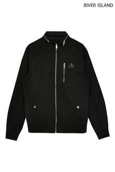 River Island Black Nylon Branded Byron Racer Jacket