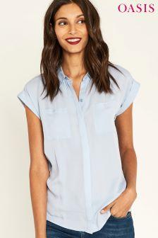 Oasis Blue Short Sleeve Roll Viscose Shirt