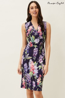 Phase Eight Blue Winifred Floral Fitted Jersey Dress