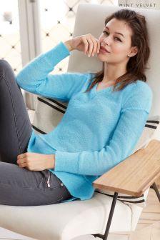 Mint Velvet Blue Mohair Raw Seam Detail Knit Sweater