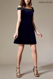 Karen Millen Blue Velvet Mini Dress