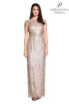 Adrianna Papell Nude Sequin Popover Gown