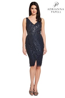 Adrianna Papell Blue Beaded Mesh Dress