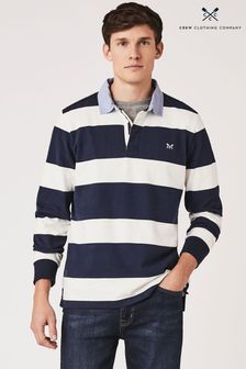 Crew Clothing Blue Crew Long Sleeve Rugby Chambray Collar Top