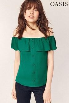 Oasis Green Button Through Bardot Top