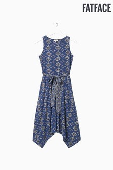 FatFace Blue Rosa Tile Patch Geo Dress