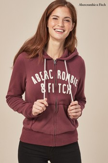 Abercrombie & Fitch Burgundy Full Zip Hoody