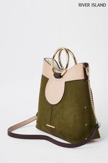 River Island Khaki Metal Ring Handle Slouch Bag