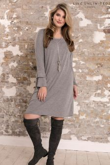 Live Unlimited Grey Jersey Dress With Ruffle Cuff