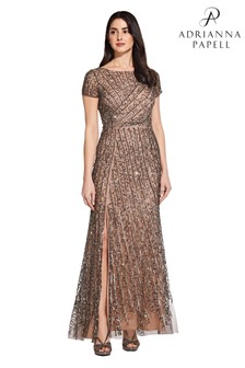 Adrianna Papell Nude Beaded Mesh Dress