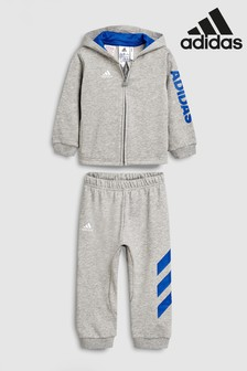 94260190fc8 adidas Infants Grey Linear Full Zip Tracksuit